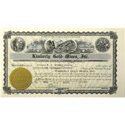 WA - 1940 - Kimberly Gold Mine Incorporated Stock Certificate :