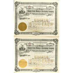 WA - Swauk Creek  Mining and Developing Company Unissued Stock Certificates (2) :