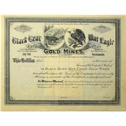 Palmer Mountain,WA - Okanogan County - Black Bear and Mar Eagle Gold Mines Stock Certificate :
