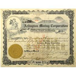 Spokane,WA - Spokane County - 1907 - Arlington Mining Corporation Stock Certificate :