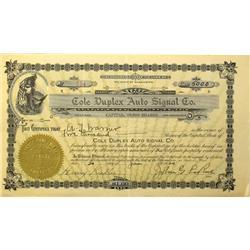 Spokane,WA - Spokane County - 1920 - Cole Duplex Auto Signal Company Stock Certificate :