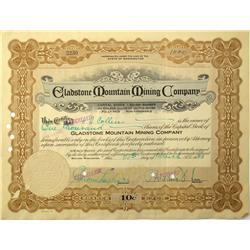 Spokane,WA - Spokane County - 1925 - Gladston Mountain Mining Company Stock Certificate :