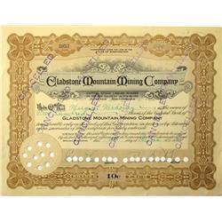 Spokane,WA - Spokane County - 1925 - Gladstone Mountain Mining Company Stock Certificate :