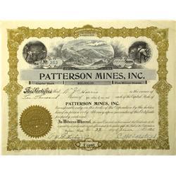 Spokane,WA - Spokane County - 1936 - Patterson Mines Inc. Stock Certificate :