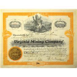Spokane,WA - Spokane County - 1914 - Virginia Mining Company Stock Certificate :