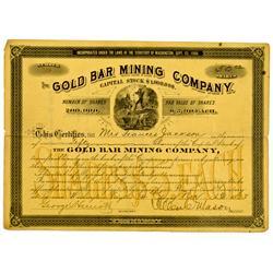 Tacoma,WA - Gold Bar Mining Co.  Stock *Territorial* :