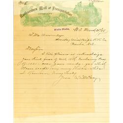 Walla Walla,WA - Walla Walla County - 1888 - Northwestern Mail and Transportation Company Letter :