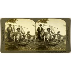 Manitowish Waters,WI - Vilas County - 1909 - Indian Men Making Twine Stereoview :