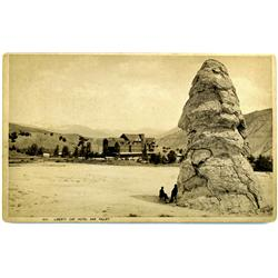 Mammoth Hot Springs,WY - Park County - c1889 - Two Men Stand Near Liberty Cap and Hotel Photograph :