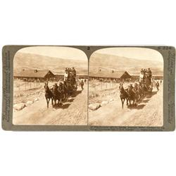Yellowstone,WY - 1904 - Stagecoach in Yellowstone Stereoview :