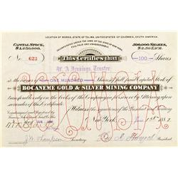 Colombia, South America,Tolima State - 1887 - Bocaneme Gold & Silver Mining Company Stock Certificat