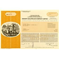 Ghana,Obuasi - September 22, 2000 - Ashanti Goldfields Company, Limited, Stock Certificate :