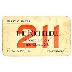 Leavenworth,Richelieu Liquor & Cigars Business Card :