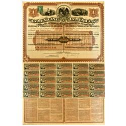 Mexico,April 12, 1888 - La Mexicana Dual Bond Certificate :