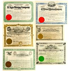 Mexico,1903-11 - Mexican Mining Company Stock Certificates :