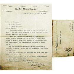 Mexico,Chihuahua ~ Hamilton County - 1908-1909 - San Toy Mining Company Letters, Mexico :