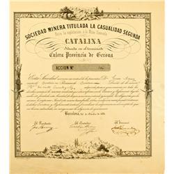 Spain, Barcelona,October 20, 1851 - Sociedad Minera Titulada La Casualidad Segunda, Stock for the Ca