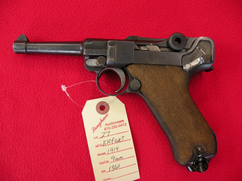 Erfurt 1914 Military Luger 9 MM