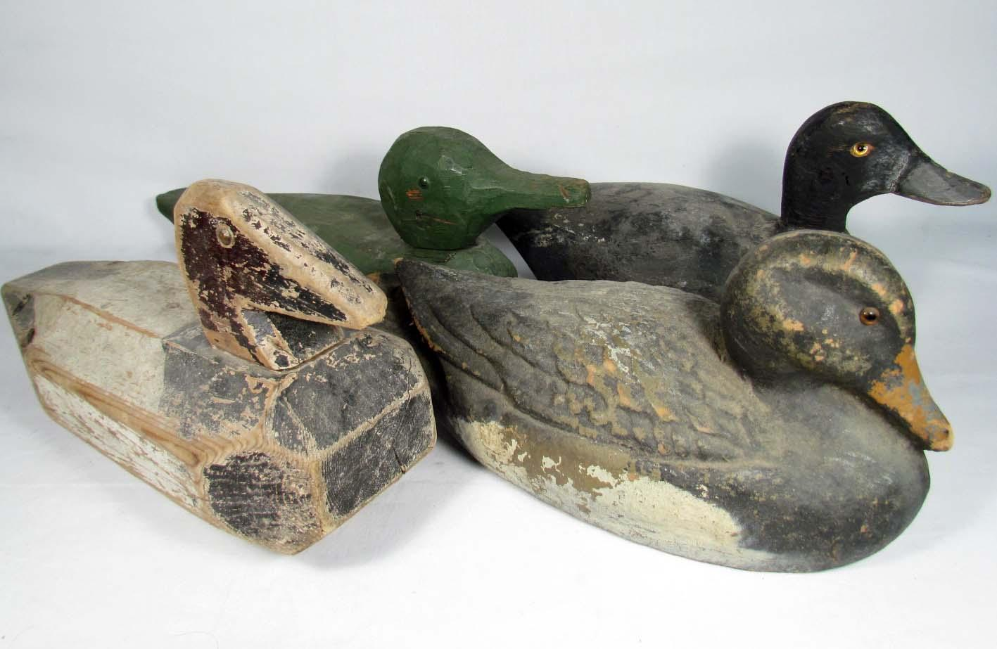 Lot Of 4 Vintage Wooden Duck Decoys
