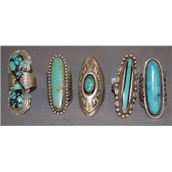 5 NAVAJO STERLING RINGS