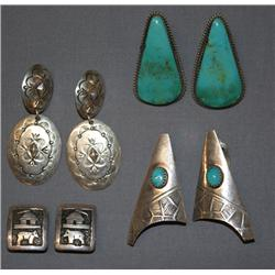FIVE PAIRS OF NAVAJO EARRINGS