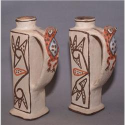 PAIR OF ZUNI POTTERY CANDLE STICKS