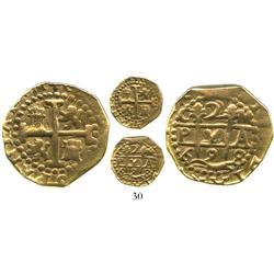 """Cuzco, Peru, cob 2 escudos, 1698M, """"Lima style"""" planchet."""