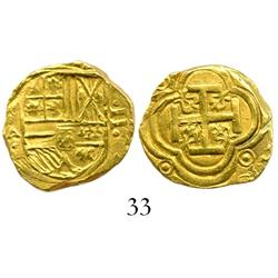 Bogota, Colombia, cob 2 escudos, Philip IV, assayer A (ca. 1635), from the ca.-1636  Mesuno hoard.