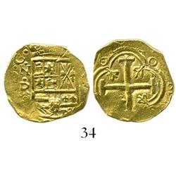 Bogota, Colombia, cob 2 escudos, Philip IV, assayer not visible but style of Ramos (late 1640s).