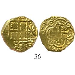 Bogota, Colombia, cob 2 escudos, 1703, one-year type with dots in circles in dimples of tressure aro