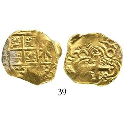Bogota, Colombia, cob 2 escudos, posthumous Charles II, balls at ends of cross (1709), from the 1715