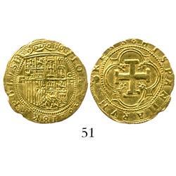 Segovia, Spain, 1 escudo, Charles-Joanna, assayer oP, rare.