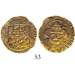 Seville, Spain, 1 escudo, Charles-Joanna, assayer Gothic D to left.