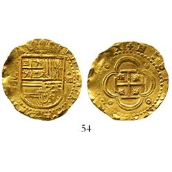 Seville, Spain, cob 4 escudos, Philip II, assayer Gothic D.