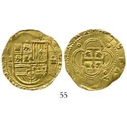Seville, Spain, cob 4 escudos, Philip II, assayer Gothic D.