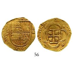 Seville, Spain, cob 4 escudos, Philip II, assayer Gothic D with open right side, rare.