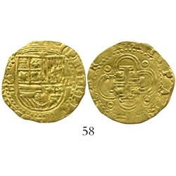 Seville, Spain, cob 2 escudos, Philip II, assayer Gothic D.