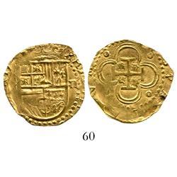 Seville, Spain, cob 2 escudos, Philip II, assayer not visible (pre-1588).