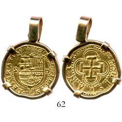 Seville, Spain, 1 escudo, Charles-Joanna, assayer Gothic D, mounted in 14K pendant bezel.