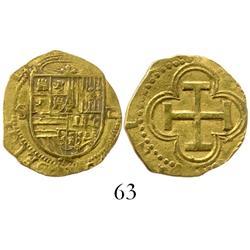 Seville, Spain, cob 1 escudo, Philip II, assayer Gothic D.