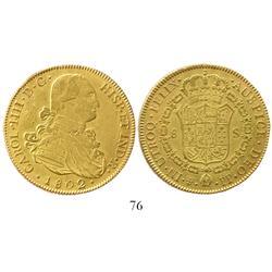 Potosi, Bolivia, bust 8 escudos, Charles IV, 1802PP, salvaged.