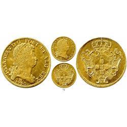 Brazil (Minas mint), 12800 reis (dobra), John V, 1730-M, rope-rim variety (corda).