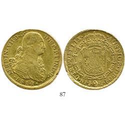 Santiago, Chile, bust 8 escudos, Ferdinand VII (bust of Charles IV), 1814FJ.