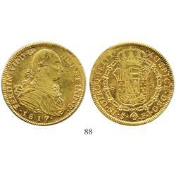 Santiago, Chile, bust 8 escudos, Ferdinand VII (bust of Charles IV), 1817/8FJ.