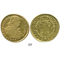 Santiago, Chile, bust 4 escudos, Charles IV, 1808/7FJ.