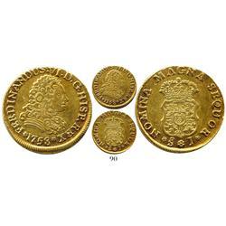 Santiago, Chile, bust 2 escudos, Ferdinand VI, 1758J, extremely rare.