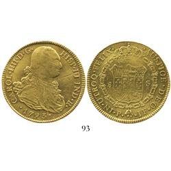 Popayan, Colombia, bust 8 escudos, Charles IV, 1793JF.