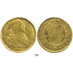 Popayan, Colombia, bust 8 escudos, Charles IV, 1801JF.