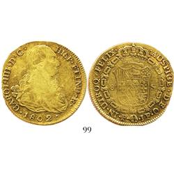 Popayan, Colombia, bust 8 escudos, Charles IV, 1802JF.