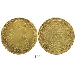 Bogota, Colombia, bust 8 escudos, Charles IV, 1803JJ.